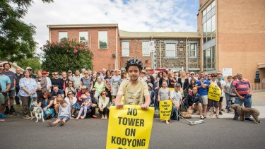 Finn Clarke, 8, at the protest against a high-rise retirement village proposed for Caulfield South.