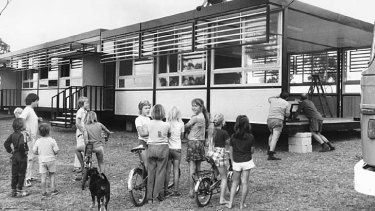Demountable classrooms set up in the 1970s.