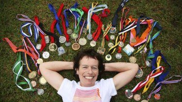 Julia Thorn with some of her medals.