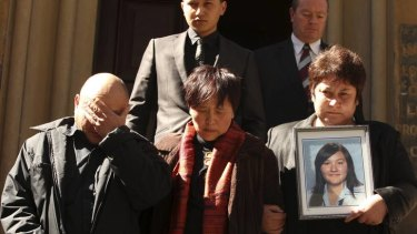 The family of the murder victim Nona Belomesoff outside court (from left): her father Vasily, aunt Angie and mother Nina.