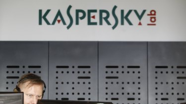 An employee at work in the virus lab at the Kaspersky headquarters in Moscow.