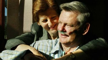 Tireless campaigners ... the late Bernie Banton with his wife, Karen, at their Sydney home in 2004.