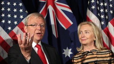 Foreign Minister Kevin Rudd with US Secretary of State Hilary Clinton in San Fransisco this month.