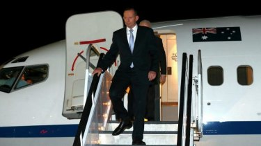 Prime Minister Tony Abbott arrives in New York.