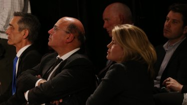 Senator Arthur Sinodinos and Mr Turnbull's daughter Daisy during the debate.