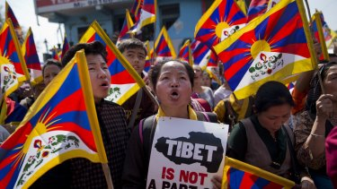 A rally to mark the 57th anniversary of the March 10, 1959, Tibetan Uprising Day, in Dharmsala, India.
