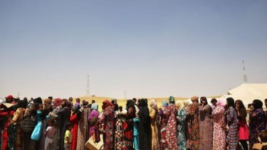 Women at the Khazair displacement camp. The fighting cross Iraq has internally displaced an estimated 1 million people.