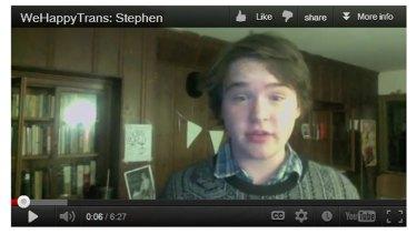 Gender divide ... Stephen Beatty's plea for transgender understanding drew 500,000 views on YouTube.