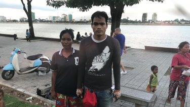 Yem Chanthy, on the Phnom Penh riverfront with her husband Both Chhork who takes food to James Ricketson in prison. They say his health is deteriorating.