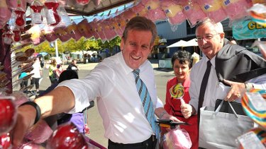 On show: Barry O'Farrell with ministers Pru Goward and Brad Hazzard at the Easter Show on Monday, where they held a cabinent meeting.