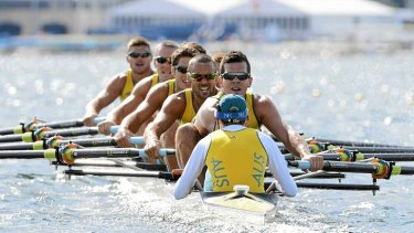 Team Australia competes in the men's eight repechage at Eton Dorney during the London 2012 Olympic Games.