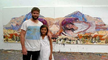 Ben Quilty and young actress Miah Madden with Quilty's painting for <i>The Darkside</i>.
