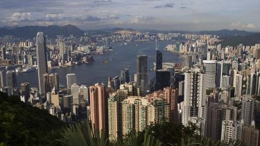 The Hong Kong skyline is seen from the Peak tourist spot.