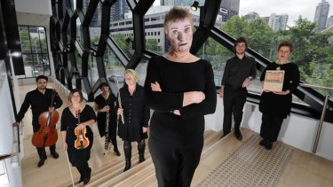 Singer Merlyn Quaife with her chamber music ensemble for <i>Pierrot Lunaire</i>.
