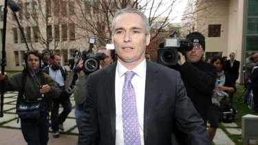 Craig Thomson at Parliament House yesterday where he told the media he was the subject of nine investigations.