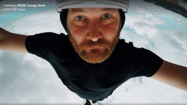 Actor Matthew Knott, seen here bungyjumping, stars as Deadpan Guy in a Facebook advertising campaign for Reize energy drinks.