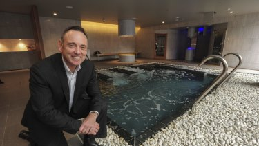 Next Gen general manager Tony Fraser in the spa area of the new Next Gen Canberra gym.