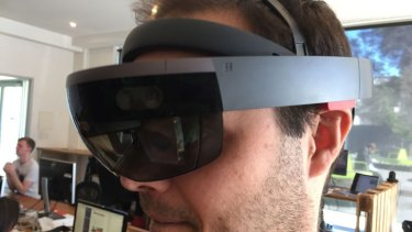 Two Bulls chief operating officer Evan Davey wearing the Hololens.
