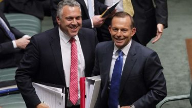 Prime Minister Tony Abbott, with Treasurer Joe Hockey, has refused to support giving Holden any more federal government assistance.