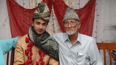A man ''true and honest'' … Muhammad Akram with his grandson Wajeeh Ahmed on his wedding day in April 2010.