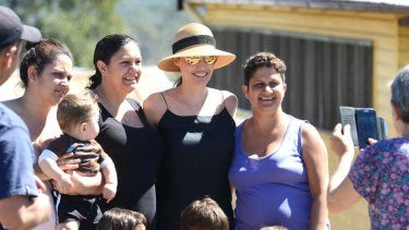 Angelina Jolie meeting locals at Werris Creek, NSW, during location scouting last month.