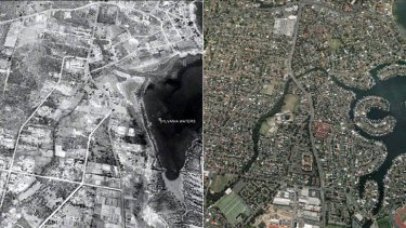 Shaped by the car: The view of Sylvania Waters in 1943 and the suburb today.