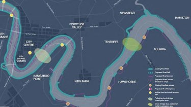 """A map of """"selected potential projects"""" from the Draft River's Edge Strategy."""