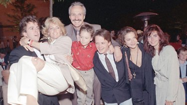 The cast of Family Ties in 1989 with child star Brian Bonsall (centre). Bonsall has been arrested for investigation of assault in Colorado.