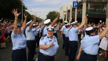 Chief Commissioner Christine Nixon arrives with the Victorian Police contingent at yesterday's Gay Pride march in St Kilda.