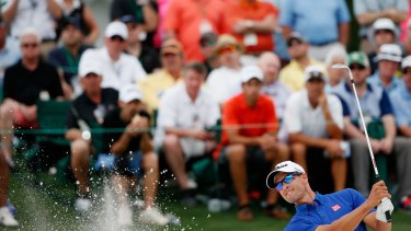 Still within striking distance: Adam Scott hits out of a bunker.