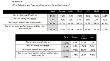 Pollsters appear to be voting for some minor parties based on apathy, not policy.