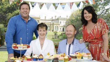 <i>Bake Off</i> hosts Shane Jacobson (left) and Anna Gare (far right) with judges Kerry Vincent and Dan Lepard.