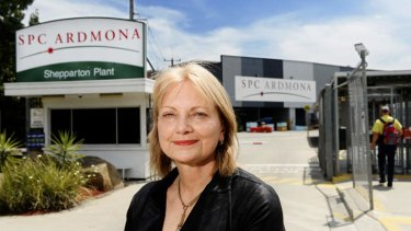 Local Liberal MP Dr Sharman Stone at the SPC Ardmona plant in Shepparton in Victoria. She has attacked Prime Minister Tony Abbott and Treasurer Joe Hockey over their comments on SPC Armdona's workplace agreement.