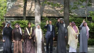 At Camp David, from left: Abu Dhabi Crown Prince Mohammed bin Zayed al-Nahyan, Bahrain Crown Prince Salman bin Hamad al-Khalifa, Oman Deputy Prime Minister Fahd bin Mahmud al-Said, the emir of Kuwait Sheikh Sabah al-Ahmed al-Sabah, Barrack Obama, the emir of Qatar Sheikh Tamim bin Hamad al-Thani, Saudi Crown Prince Mohammed bin Nayef and GCC Secretary General Abdullatif bin Rashid al-Zayani.