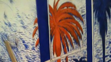 Detail of suspected Whiteley fake <i>Lavender Bay Through the Window</i>
