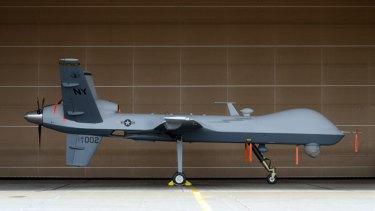 A Reaper drone at Hancock Field Air National Guard Base, NY.