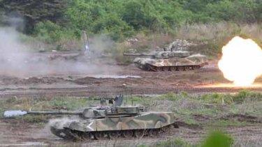 South Korean K-1 tanks during a military drill at a firing range near the demilitarized zone.