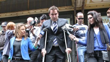 Disgraced ... Ryan Tandy leaving the court yesterday.