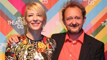 'Saddened' ... Cate Blanchett with husband Andrew Upton, who run the Sydney Theatre Company and worked with Philip Seymour Hoffman.