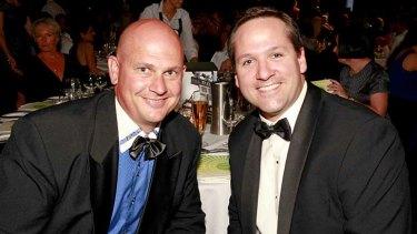 Chad Freshwater (left) and Brisbane businessperson of the year winner Ian Davies.