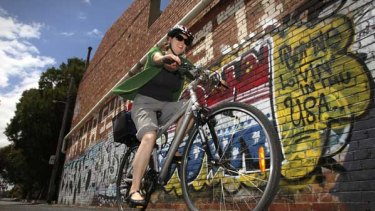 """Slow cyclist Sue Tyrie enjoys some 'chill-out time"""" as she rides along the Upfield Bikeway at Brunswick."""