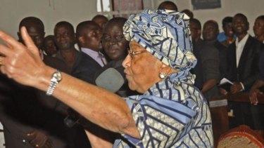 Liberia President Ellen Johnson Sirleaf at a church service at the Providence Baptist Church in Monrovia, Liberia, on Friday.