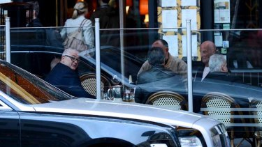 Mick Gatto (left) outside Society Restaurant last week.