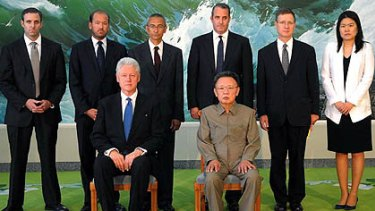 North Korea's official Korean Central News Agency released this photo  showing Kim Jong Il posing with Bill Clinton.