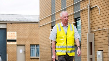 ACT Work Safety Commissioner Mark McCabe at a building on Woolley Street in Dickson.