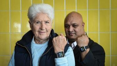 Ambassador Dawn Fraser and 3G Safety Watch creator Sy Laga'aia.