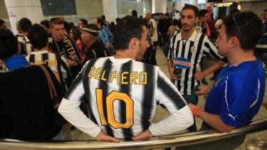 Big hit ... fans wait for Alessandro Del Piero to arrive.