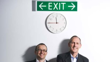 A Green old time: Member for Melbourne Adam Bandt (left) with party leader Bob Brown. <i>Picture: Nicolas Walker</i>