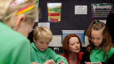 The Prime Minister, Julia Gillard, at Turner Primary School in Canberra.