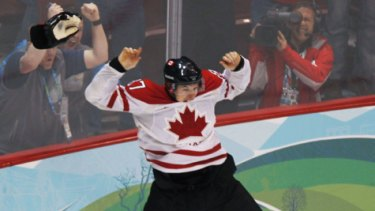 Happy Sidney ... Canada's Sidney Crosby celebrates his game winning goal during overtime period men's ice hockey gold medal final at the 2010 Winter Olympic Games in Vancouver, British Columbia.